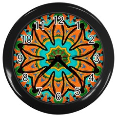 Color Abstract Pattern Structure Wall Clocks (black)