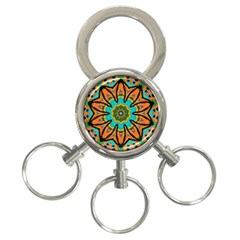 Color Abstract Pattern Structure 3 Ring Key Chains