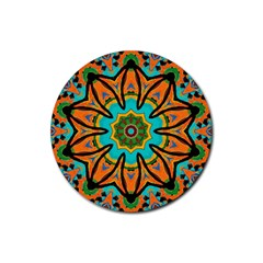 Color Abstract Pattern Structure Rubber Round Coaster (4 pack)
