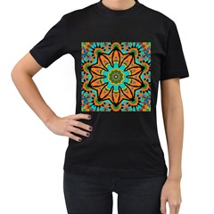 Color Abstract Pattern Structure Women s T Shirt (black) (two Sided)