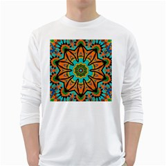Color Abstract Pattern Structure White Long Sleeve T Shirts