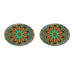 Color Abstract Pattern Structure Cufflinks (oval)