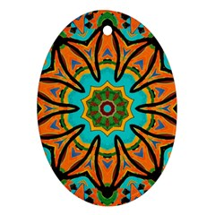 Color Abstract Pattern Structure Oval Ornament (two Sides)