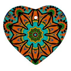 Color Abstract Pattern Structure Heart Ornament (2 Sides)