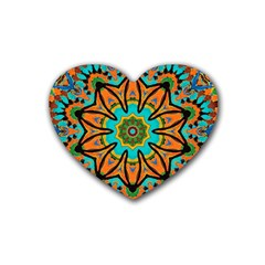 Color Abstract Pattern Structure Rubber Coaster (heart)