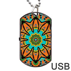 Color Abstract Pattern Structure Dog Tag Usb Flash (one Side)