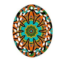 Color Abstract Pattern Structure Oval Filigree Ornament (2 Side)