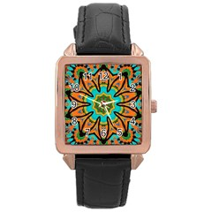Color Abstract Pattern Structure Rose Gold Leather Watch