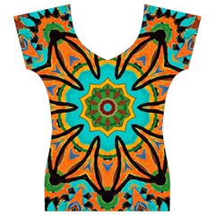 Color Abstract Pattern Structure Women s V-Neck Cap Sleeve Top