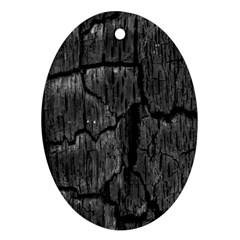 Coal Charred Tree Pore Black Ornament (Oval)