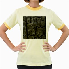Coal Charred Tree Pore Black Women s Fitted Ringer T Shirts
