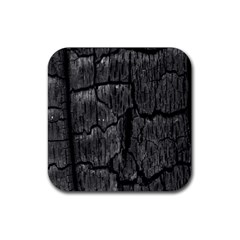Coal Charred Tree Pore Black Rubber Square Coaster (4 Pack)