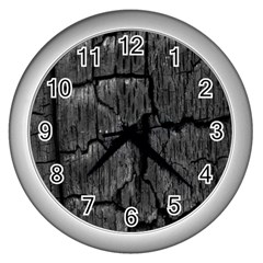 Coal Charred Tree Pore Black Wall Clocks (silver)