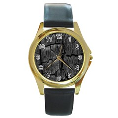 Coal Charred Tree Pore Black Round Gold Metal Watch