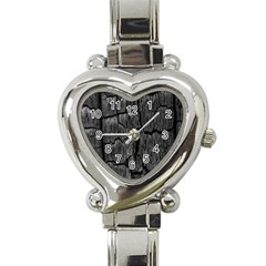 Coal Charred Tree Pore Black Heart Italian Charm Watch