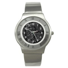 Coal Charred Tree Pore Black Stainless Steel Watch