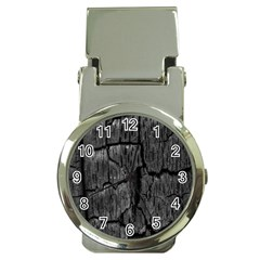 Coal Charred Tree Pore Black Money Clip Watches