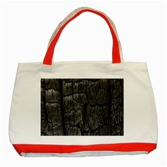 Coal Charred Tree Pore Black Classic Tote Bag (red)