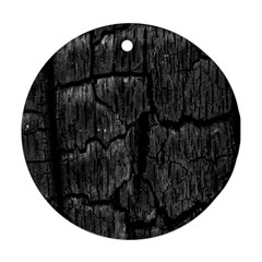 Coal Charred Tree Pore Black Round Ornament (two Sides)