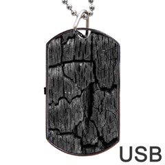 Coal Charred Tree Pore Black Dog Tag Usb Flash (one Side)