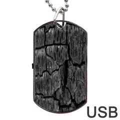 Coal Charred Tree Pore Black Dog Tag Usb Flash (two Sides)