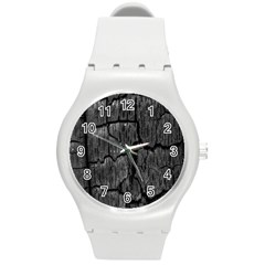 Coal Charred Tree Pore Black Round Plastic Sport Watch (m)