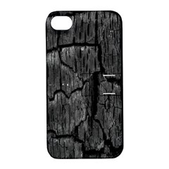 Coal Charred Tree Pore Black Apple Iphone 4/4s Hardshell Case With Stand