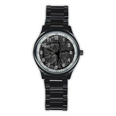 Coal Charred Tree Pore Black Stainless Steel Round Watch