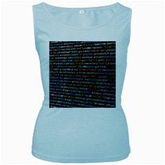 Close Up Code Coding Computer Women s Baby Blue Tank Top