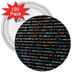 Close Up Code Coding Computer 3  Buttons (100 Pack)