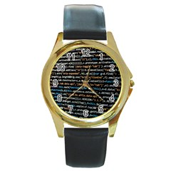 Close Up Code Coding Computer Round Gold Metal Watch