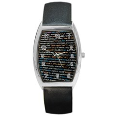 Close Up Code Coding Computer Barrel Style Metal Watch