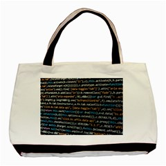 Close Up Code Coding Computer Basic Tote Bag (Two Sides)