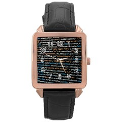 Close Up Code Coding Computer Rose Gold Leather Watch