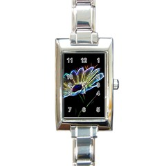 Flower Pattern Design Abstract Background Rectangle Italian Charm Watch