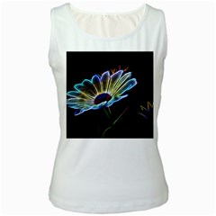 Flower Pattern Design Abstract Background Women s White Tank Top