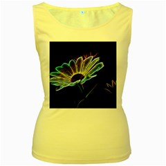 Flower Pattern Design Abstract Background Women s Yellow Tank Top