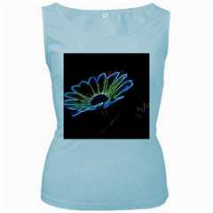 Flower Pattern Design Abstract Background Women s Baby Blue Tank Top