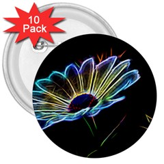 Flower Pattern Design Abstract Background 3  Buttons (10 Pack)