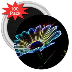 Flower Pattern Design Abstract Background 3  Magnets (100 Pack)