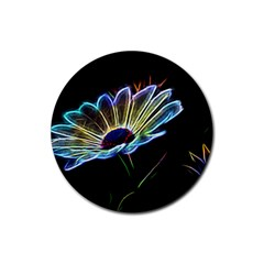 Flower Pattern Design Abstract Background Rubber Coaster (round)