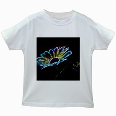 Flower Pattern Design Abstract Background Kids White T Shirts