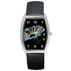 Flower Pattern Design Abstract Background Barrel Style Metal Watch
