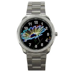 Flower Pattern Design Abstract Background Sport Metal Watch