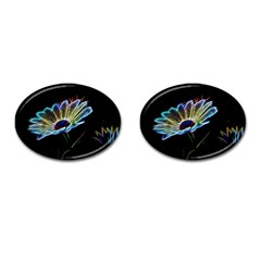 Flower Pattern Design Abstract Background Cufflinks (oval)