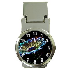 Flower Pattern Design Abstract Background Money Clip Watches