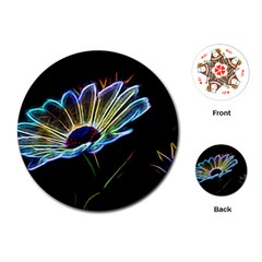 Flower Pattern Design Abstract Background Playing Cards (round)