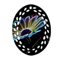 Flower Pattern Design Abstract Background Oval Filigree Ornament (2 Side)