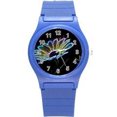 Flower Pattern Design Abstract Background Round Plastic Sport Watch (s)
