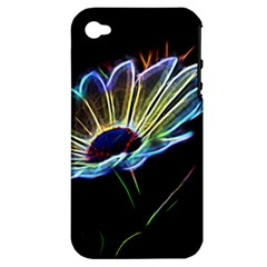 Flower Pattern Design Abstract Background Apple Iphone 4/4s Hardshell Case (pc+silicone)